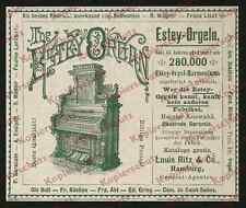 O. publicité Estey-orgue l'harmonium musique akkustik New york Louis ritz Hambourg 1902