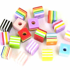 30 Mixte 10 mm Acrylique/Résine Candy Stripe cube beads