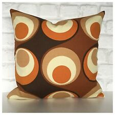 Handmade Cushion Cover Groovy 70s Brown & Orange Psychedelic Vintage Fabric VW