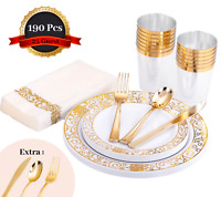 HomyBasic190 Pcs Gold Disposable Plastic Plates & Silverware Set for 25 Guest