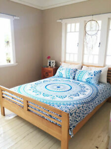 Ombre Mandala Queen Size Bedding Set Cotton Bed Sheet Cover With Pillow Case