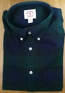 Designer Brooks Brothers Cotton Red Fleece Blue Green Shirt With Pocket Size M