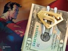 SUPERMAN OFFICIAL MAN OF STAINLESS STEEL GOLD PLATED METAL MONEY CLIP BRAND NEW