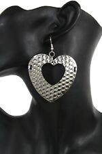 Women Silver Hammered Metal Love Heart Hollow Charm Fashion Jewelry Earrings Set