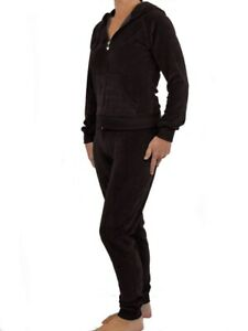 Womens Velour Tracksuit Brand New Full Cuff Lounge Suit Brown Size 10-12