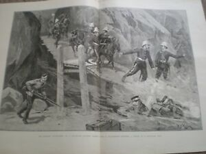 Military Tournament No 10 Mountain Battery on a spar bridge 1890 print ref AU