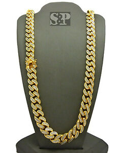 """Hip Hop Premium Iced 17mm 30"""" Brass Gold Plated Miami Cuban Chain Bling Necklace"""
