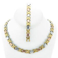 Hugs & Kisses Necklace Bracelet Set Stampato Stainless Steel Three Tone 18/20''