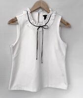 J CREW gorgeous Off White & Black Detailed Neckline Blouse Top Size S