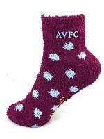 Aston Villa Football Club (AVFC) Polka Dot Fuzzy Socks Logo Gripper Bottom