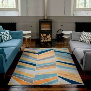 Geometric Rugs for Living Room Large Blue Yellow Modern Soft Hallway Runner Mats