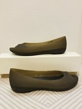 Womens Crocs Size 8 W Carlie Peep Toe Olive Green / Black Sheer Rubber 11277