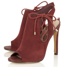 Dolcis Ladies Faux Suede Peep-Toe Shoe Booty High Heeled Slingback  Sandal Shoes