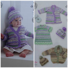 KNITTING PATTERN Baby Dress Coat Jacket and Bobble Hat Drifter DK 4996