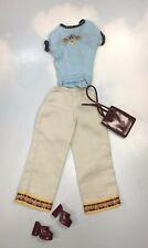 Barbie Doll Clothing: Fashion Fever Gulf Coast Getaway blue top Khakis Shoes Bag
