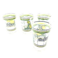 Set of 4 Vintage Coca Cola Flair Glass Yellow Roses Stain Glass 5.5""