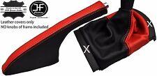 Engranaje De Cuero Real Negro y Rojo Polaina de freno de mano se adapta Seat Ibiza Cordoba 02-08