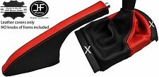 BLACK & RED REAL LEATHER GEAR HANDBRAKE GAITER FITS SEAT IBIZA CORDOBA 02-08