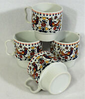 4 Vtg Made in Japan Scandinavian Dutch Design Birds Stack-able Ceramic Cup Mug