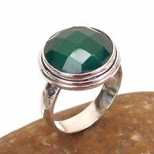 Briolite GREEN ONYX Gemstone 925 Solid Sterling Silver Ring Size US 9 -EB1651
