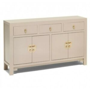 Made to Order Golden Dragon Oriental Painted Solid Wood Off-White Sideboard L