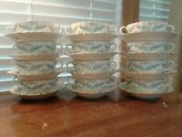 12 Royal Worcester Ferncroft Turquoise Leafs Gray Scrolls Cream Soup & Saucers