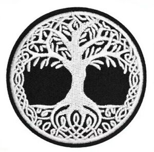 Iron or Sew On Embroidered Patch Celtic Norse Tree of Life 7.7 cm