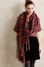 NEW Anthropologie Handknit Chunky Pom Pom Wrap Shawl Cardigan Sweater Size XS/S