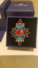 Stunning Swarovski Flower Ring - Ruby Purple Blue Crystals- Size 58 (large)