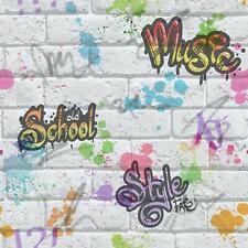 Erismann Graffiti Tag Urban Childrens Brick Effect Wallpaper 05601-30