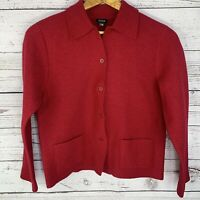Eileen Fisher Womens Shirt Jacket Solid Red Button Up 100% Wool Size Small