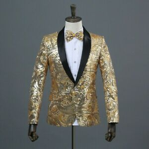 Mens Sequin Shawl Lapel Suit Jacket Stage Performance Show Party Tunic