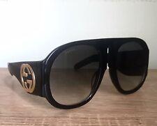 Gucci Sunglasses Oversized Aviator Black Frame GG0152S Gold Logo Gray Lens New