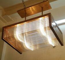 Vintage Old Art Deco Brass & Glass Rod Ship Ceiling Fixture Hanging Light Lamp