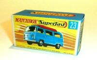 Matchbox Lesney Superfast No 23  Volkswagen Camper empty Repro G style Box