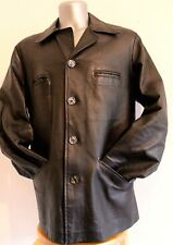 Vtg Mens Diesel Jacket 100% Soft Leather Black Cafe Racer Size L Classic