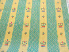 "Green/Gold ""Blenheim"" Crowns Striped Printed 100% Cotton Curtain Fabric"