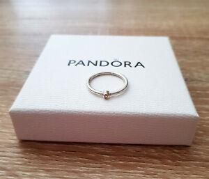 *** PANDORA *** Genuine S925 ALE Silver & 14K Gold Diamond Ring - Size 56 ***
