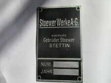 Nameplate Stoewer German Armed Forces Wk Ww 2 II Einheitsfahrzeug Taking Down
