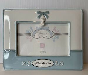 """NWOT Russ Baby boy Picture Frame Bless This Child Porcelain 4""""X6"""" Pic 9x7 frame"""