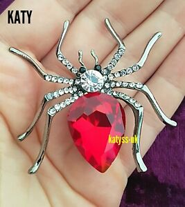 Large Vintage Art Deco Look Spider BROOCH Pin Big Red Crystal Silver Broach Gift