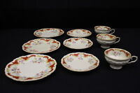 9 Pc Set of Vintage Floral China Cups, Saucers, Luncheon Plates w/Cinnamon Trim