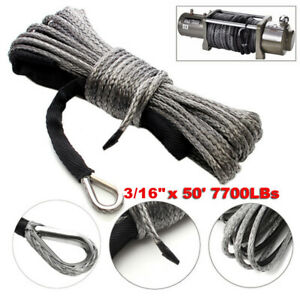 Gray 3/16'' x 50' 7700LBs Synthetic Winch Line Cable Rope with Sleeve ATV UTV