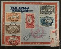 1940 Dakar Senegal Airmail Cover To Washington Dc USA Stamp Set PA 13-17