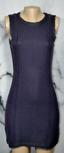 SISLEY Purple Sleeveless Sweater Dress Small Gray Trim Unlined Vertical Seaming