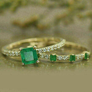 2Ct Princess Green Emerald Diamond Bridal Engagement Ring 14K Yellow Gold Finish