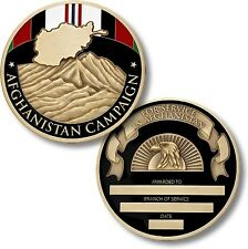 Afghanistan Campaign Service Medal Challenge Coin Engraveable Map Ribbon War