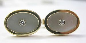 Tiffany & Co Mother Of Pearl & Diamond Cufflinks 18Kt Yellow Gold .20Ct