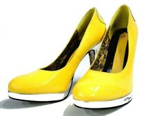 NEW ED HARDY WOMEN'S SKY SHOES HEELS PUMPS - PATENT LEATHER (YELLOW) - Size 5