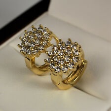 14ct Gold Filled Cluster Clear CZ Zirconia Crystal 12mm Huggie Hoop Earrings 314
